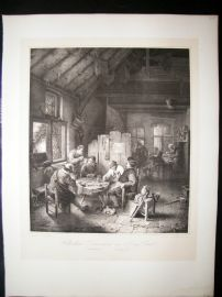After Adrian van Ostade C1840 LG Folio Print. Cabaret Hollandais